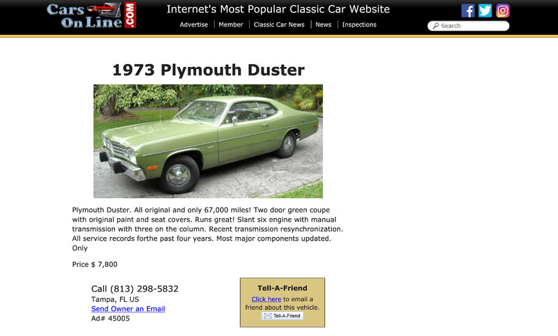1973 Plymouth Duster Cars On Line com Classic Cars For Sale.jpg