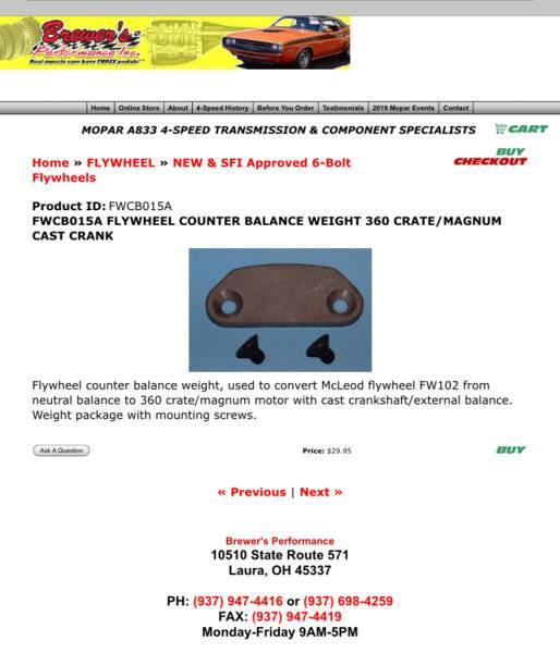 Bolt on Flywheel Weight 130t External Balance 360 LA SB Mopar Dodge A833 5.9l