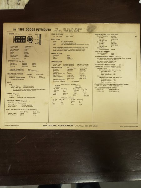 FOR SALE] - Sun tuning spec sheet `68 340 275 HP   For A
