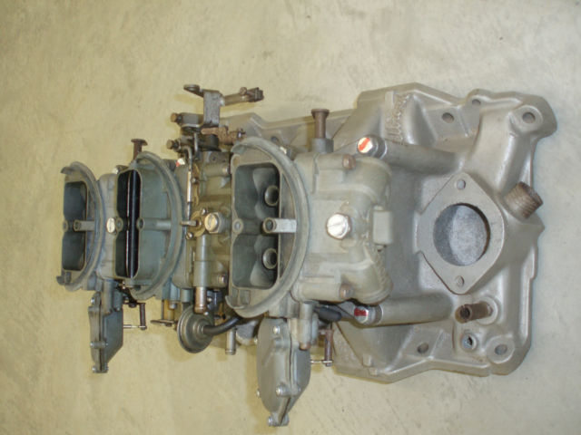 My OE 1970 TA Challenger 340 six pack intake and 4-spd carbs 3.jpg