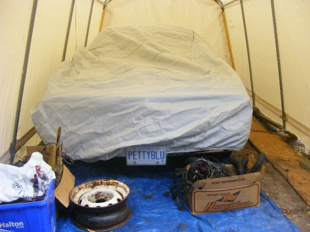 duster in the harbor freight portable garage fits just barely for a bodies only mopar forum. Black Bedroom Furniture Sets. Home Design Ideas