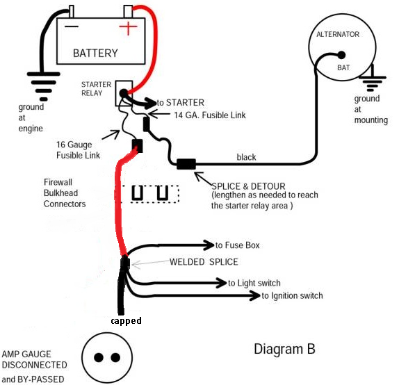 Bypassing The Amp Gauge Question, Amp Gauge Wiring Diagram