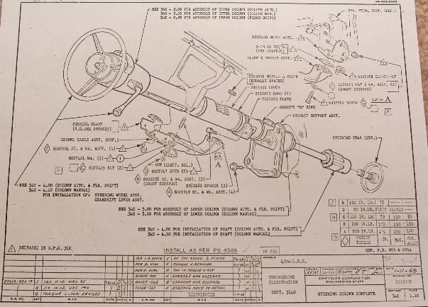 1966 Dodge Dart Steering Column Exploded View  Column